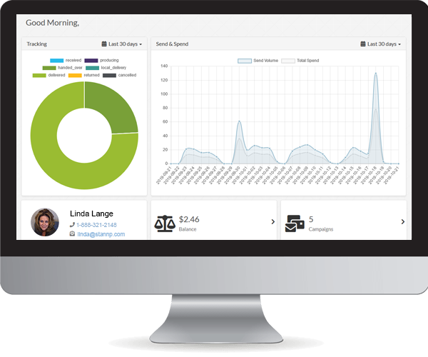 Direct mail dashboard